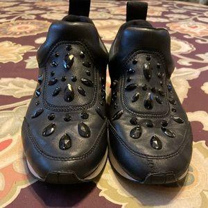 Black rhinestone studded Tory Burch sneakers